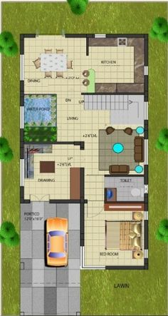 A Duplex house plan is for a single-family home that is built in two floors having one kitchen and dining. The duplex house plan gives a villa look and feel in small area. 2bhk House Plan, Pool House Plans, Three Bedroom House Plan, Model House Plan, Basement House Plans, North Facing House, West Facing House, Indian Home Design, Kerala House Design