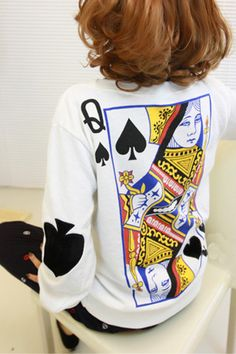 26d8d86a50 Round Neck Long Sleeve Porker Print Cotton Hoody Sweater Cardigan
