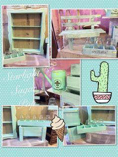 Accesorios en color tifanny con Wash blanco  #vintage starlight sugar pop