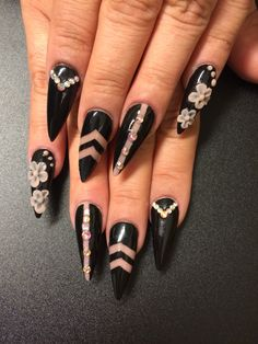 Black Stiletto Nails with Cut Out design and 3D Nail Art