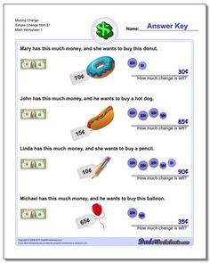 Check out this exhaustive collection of free printable math worksheets for third grade! Or check out the other grade levels. Thousands of math worksheets all with detailed answer keys. No registration or signup, just print and practice! Making Change Worksheets, Counting Money Worksheets, 4th Grade Math Worksheets, Free Printable Math Worksheets, Writing Worksheets, Worksheets For Kids, Consumer Math, First Grade Math, Second Grade
