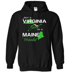(VANoelXanhChuoi002) Just A Virginia Girl In A Maine Wo - #sweaters for fall #sweater for women. TRY  => https://www.sunfrog.com/Valentines/-28VANoelXanhChuoi002-29-Just-A-Virginia-Girl-In-A-Maine-World-Black-Hoodie.html?id=60505