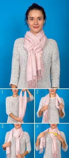 8 Ways to complete your & with a scarf or pashmina - Celina S - - 8 Maneras de completar tu 'look' con una bufanda o pashmina 8 Ways to complete your & # look & # with a scarf or pashmina - Ways To Tie Scarves, Ways To Wear A Scarf, How To Wear Scarves, How Tie A Scarf, Wearing Scarves, Diy Fashion, Ideias Fashion, Autumn Fashion, Womens Fashion