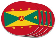 """Amazon.com: Custom & Cool {4"""" Inches} Set Pack Of 4 Round Circle """"Grip Texture"""" Drink Cup Coasters Made of Plastic w/ Cork Bottom w/ Grenada National Worldly Flag Design [Colorful Red, Gold & Green]: Home & Kitchen"""