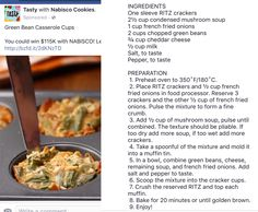 Green bean casserole cups from Tasty. Ritz crackers, Chester cheese, Cream of mushroom, mini portions.