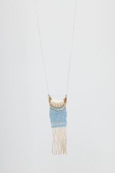 ERIN CONSIDINE  Datum Solo Woven Necklace, Brass/Blue