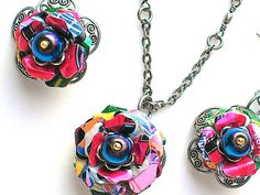 Colorful Aluminum Can Flower Necklace & Earrings Set