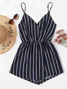 Shop Vertical Striped Cami Romper at ROMWE, discover more fashion styles online. Cute Casual Outfits, Cute Summer Outfits, Stylish Outfits, Spring Outfits, Teen Fashion Outfits, Cute Fashion, Outfits For Teens, Girl Outfits, Mode Rock