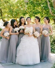 Gray bridesmaid dresses  // Photo: Esther Sun Photography // Coordination: live.love.create events // TheKnot.com