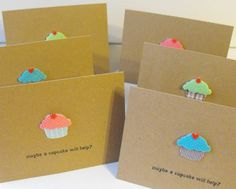 Cupcake Stationery  Set of 6 Hand crafted Blank by ThePaperPeddler, $10.00