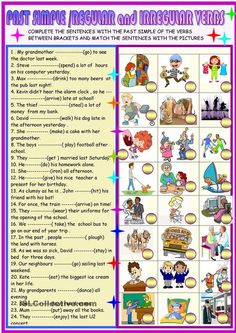 Past simple regular and irregular verbs worksheet - Free ESL printable worksheets made by teachers Grammar Exercises, English Exercises, French Worksheets, Grammar Worksheets, Printable Worksheets, French Grammar, English Grammar, Teaching French, Teaching English