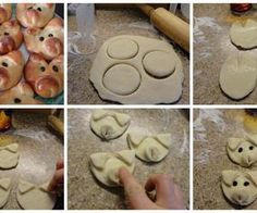 How to make a adorable piglet face bread Bread Bun, Sweet Bread, 3rd Birthday, Birthday Ideas, Food Art, Good Food, Fun Food, Stuffed Mushrooms, Food And Drink