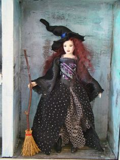 """Medieval WITCH - OOAK Miniature -haunted dollhouse doll 1"""" scale - porcelain by Marina. $120.00, via Etsy."""