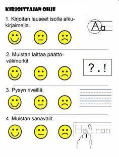 Beginning writing rubric (self evaluation) Kindergarten Writing, Teaching Writing, Writing Activities, Kindergarten Handwriting, Writing Lessons, Writing Rubrics, Writing Sentences, Sentence Writing, Writing Ideas