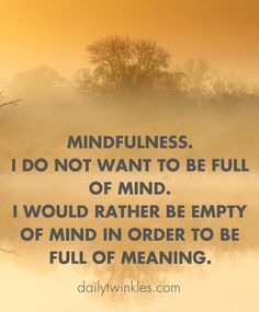 Mindfulness.I do not want to be full of mind.I would rather be empty of mind in order to be full of meaning.