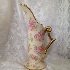 CHIC Pottery Co Ewer Pitcher Vase 1946 Rose
