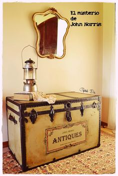 an antique trunk with history, painted furniture, repurposing upcycling Also great related pins Wooden Trunks, Old Trunks, Vintage Trunks, Trunks And Chests, Antique Trunks, Trunk Redo, Trunk Makeover, Paint Furniture, Furniture Projects