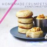 Homemade Crumpets & Honeycomb Butter (crumpets are made with both yeast and baking powder and they are cooked in frying pan in metal rings. Brunch Recipes, Sweet Recipes, Homemade Crumpets, Tapas, Butter Ingredients, Pancakes, Sandwiches, Eat Breakfast, Sweet Tooth