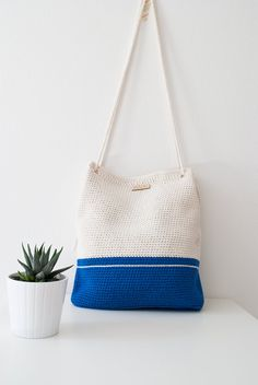 "Crochet bag My Lovely Bag ""Athens"" blue and white  by MyLovelyHook"