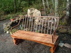 Repurposed wood with a copper piping back rest. LOVE! It's on my DIY list.