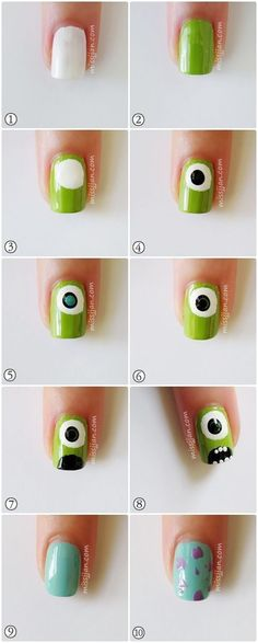 monster inc nails Trendy Nail Art, Cute Nail Art, Nail Art Diy, Easy Nail Art, Diy Nails, Cute Nails, Nail Nail, Pedicure Nail Art, Nail Art Tools