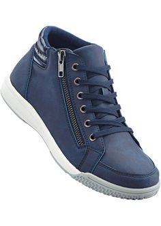 Sneaker high top dunkelblau jetzt im Shop von bonprix.ch ab CHF 53.95 kaufen. Mit weicher Innensohle mit youfoam Polsterung, warmes Textilinnenfutter und ... High Top Sneakers, Sneaker High, High Tops, Shoes, Fashion, Dark Teal, Zapatos, Moda, Shoes Outlet