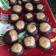 Buckeye Balls Allrecipes.com. I make these every year for vacation. Wonderful. Dark Chocolate is good too. (Debbie)