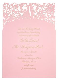 """""""A Little Lace"""" Laser Cut invitation  Gold on Candy pink by Chartula featuring Belluccia font"""
