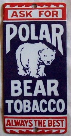 Polar bear porcelain sign door push