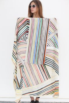 Hui Hui Painted Stripes Silk Scarf  ~~ clever idea for quilt or pillow cover, using some striped fabric combined in this random fashion.