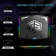 The moojay gaming laptop cooling pad is inlaid with metal mesh, which is firm and not easy to deform. The cooling pad is compatible with 11-18 inch laptops. Laptop Cooler, Laptop Stand, Phone Stand, Large Fan, Small Fan, Laptop Cooling Pad, Fan Blades, Metal Mesh, Bar Lighting