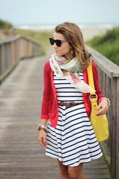 Striped Dress, red striped cardigan, yellow purse, floral scarf