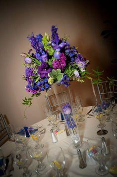Purple / Blue flower combo :  wedding arrangements blue centerpiece flowers purple Detail3