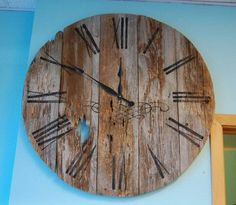 Attractive Barn Wood Clock 36 Inch Reclaimed Rustic Primitive Home Barnwood Wall Builder Project Idea Furniture Flooring Table Depot Big Clocks, Wood Clocks, Reclaimed Barn Wood, Architectural Salvage, Great Pictures, Wood Art, Rustic, Awesome, Wall