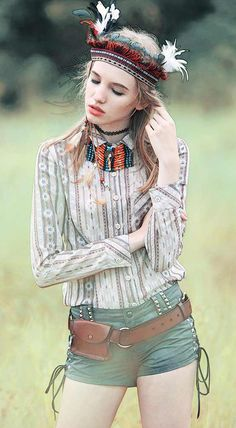 Fashiontroy Bohemian long sleeves shirt collar red green apricot pocket printed cotton shirt