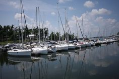 Boats at Lighthouse Landing Marina in Grand Rivers, Kentucky.