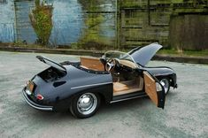 In addition, the steering wheel is offset slightly, just as an original Porsche Speedster. Must own this car silly celi I love it if got to have it. Porsche 356 Outlaw, Porsche 356 Speedster, Porsche 356a, Porsche Roadster, Porsche Sports Car, Porsche Cars, Black Porsche, Custom Porsche, Bmw Classic Cars