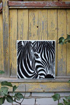 Zebra String Art, Made to Order, original gifts, Wall Art Nail String Art, String Crafts, Arte Linear, String Art Patterns, Thread Art, Pin Art, Jolie Photo, Diy Arts And Crafts, Diy Wall Art