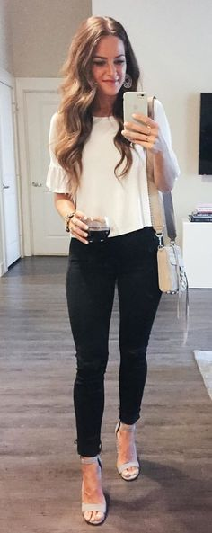 #fall #outfits Saturday Night Date Night Look. ❤️ We're Off To Try A New Ramen Place. My Top Comes In 3 Colors, Is Under $30, & Is Perfect To Hide Lots Of Food & Drinks! You've Got To See This Adorable Watch Up Close, Too. I Love The Details!