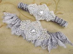 Garters for Wedding Couture | Couture Sexy SIlver Lace Wedding Garter Set by Weddingzilla, #weddings ...
