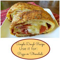 Fabulous Pizza Dough and Stromboli Recipe - Joyful Homemaking Thin Crust Pizza, Pizza Dough, Pizza Recipes, Cooking Recipes, Bread Recipes, Yummy Recipes, Stromboli Recipe, Stromboli Pizza, Pizza