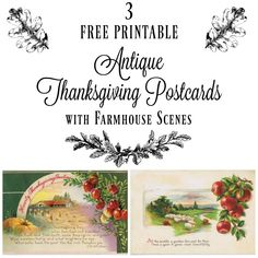 Free printable antique postcards with pastoral farmhouse illustrations. Just download & print! More free antique images available at Knick of Time!