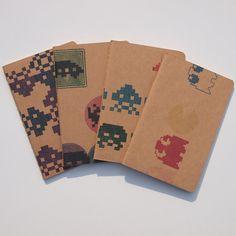 Retro Arcade pocket moleskines, 8 Bit video game pocket journals, set of 4. $29.00, via Etsy.