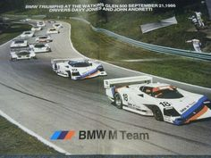 BMW M TEAM IMSA 1986 WATKINS GLEN 500 POSTER DAVY JONES JOHN ANDRETTI  #BMW Watkins Glen, Davy Jones, United Kingdom, Racing, Bmw, Posters, Running, Auto Racing, England