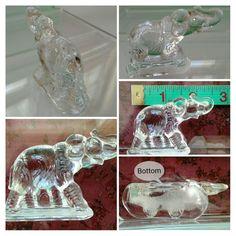 Elephant figurine ice clear glass miniature jungle animal small statue (vintage)