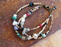 Un bracelet 3 rangs tribal  : Rayons De l'Aube par annemarietollet