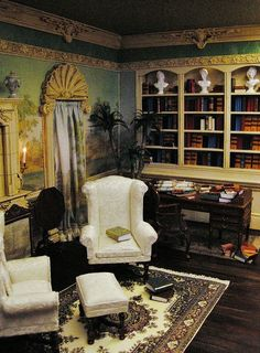 The Orleans Study, a scale room box by Ken Haseltine - each rooms details are stunning