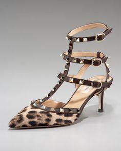Valentino rockstud leopard t-strap pump