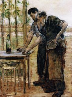Blacksmiths Taking a Drink by Jean Francois Raffaelli (1850 1924) http://xaxor.com/oil-paintings/1151-jean-francois-raffaelli-1850-1924.html