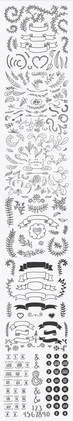 Handsketched Vector Elements 03                                                                                                                                                      もっと見る Bullet Journal Banners, Bullet Journal Hacks, Bullet Journal Notes, Wood Burning Art, Wood Burning Patterns, Journal Prompts, Journal Pages, How To Draw Ribbon, Doodle Frames